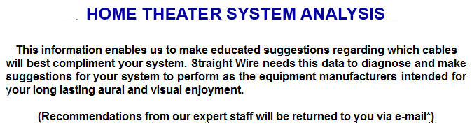 STRAIGHT WIRE - HOME THEATER SYSTEM ANALYSIS: Audio cables, video ...